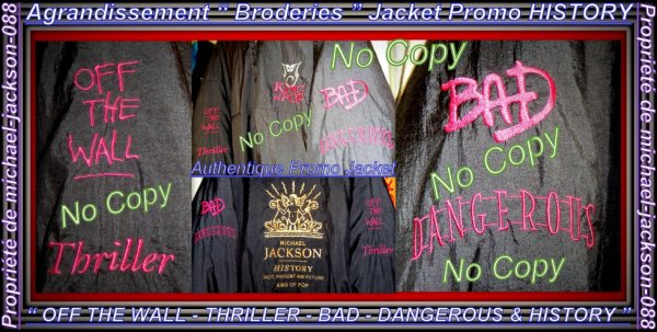 "Magnifique & Authentique Jacket Promo "" HISTORY "" Crew Members du History-World-Tour 1996 - 97 :"