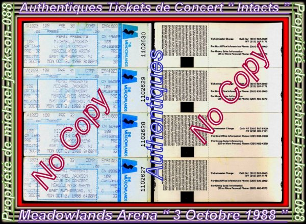 "Magnifique & Authentiques Tickets de Concert "" Intacts "" du 3 Octobre 1988 au ( Meadowlands ARENA ) :"