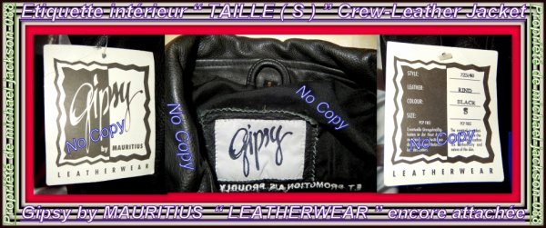 "Article Anniversaire 58 Ans Michael Jackson "" Crew-Jacket HISTORY "" TAILLE ( S ) GIPSY by Mauritius "" LEATHERWEAR "":"