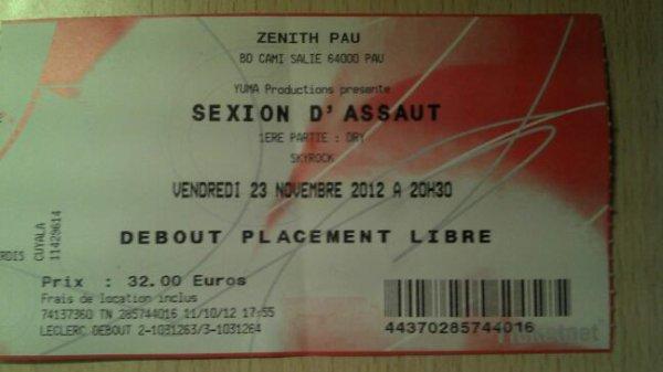 Place de concert sexion d'assaut :))