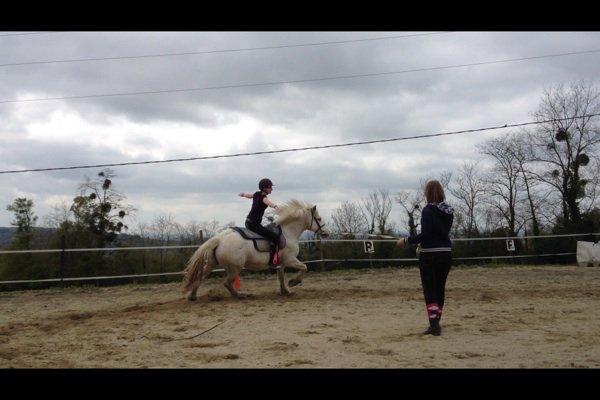 Petites photos de moi et des amies pendant mon stage d'équitation en normandie