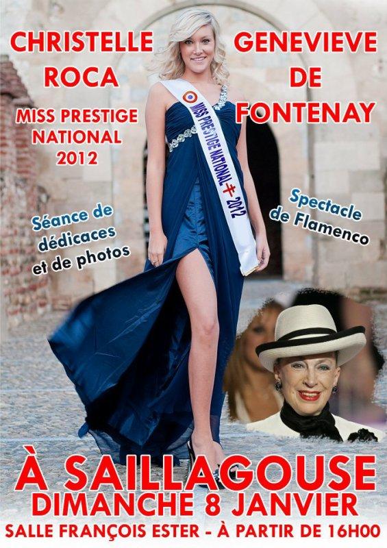 8 janvier 2012 | Christelle était à Saillagouse (66) où elle a été élue Miss Cerdagne Roussillon pour un spectacle de flamenco ainsi qu'une séance photos et dédicaces.