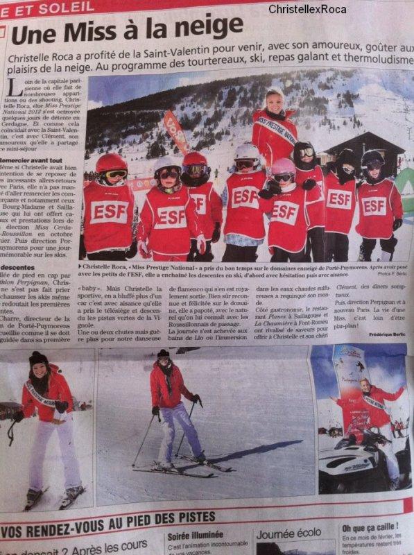 14.02.2012 | La belle Christelle a fêté la St Valentin au ski avec son amoureux.