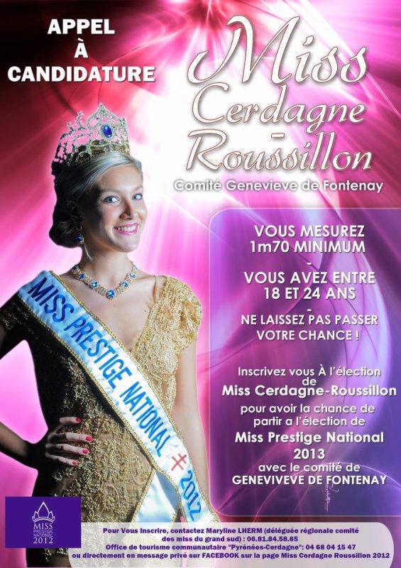 Appel aux candidatures à Miss Cerdagne-Roussillon 2012.