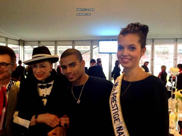 26.01.14 → Comme les précédentes miss, Marie-Laure Cornu était au Grand Prix d''Amérique à Vincennes, accompagnée de Geneviève de Fontenay.