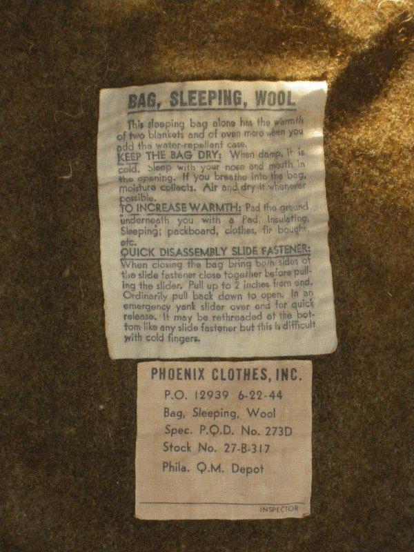 Bag, sleeping, wool 1944