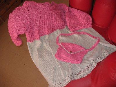 tunique faite a la fourche et au tricot